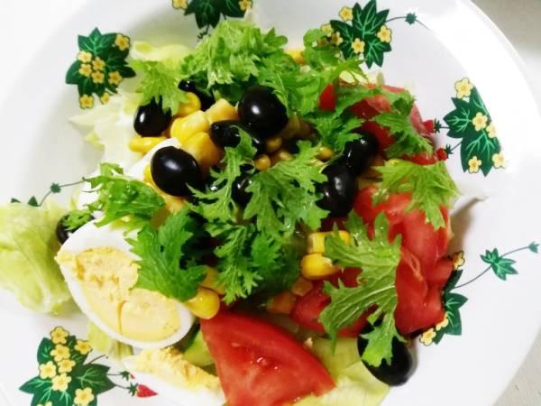 黒豆とわさび菜サラダ
