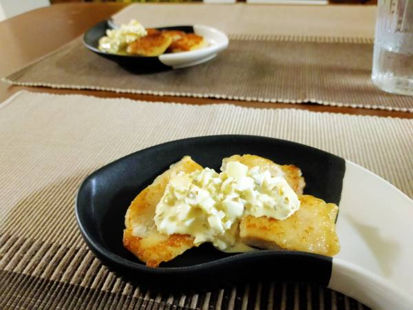 白身魚の香草焼き。自家製タルタルでくわっちぃーさびたん